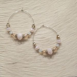 Jewelry - Pink and silver color beaded earrings